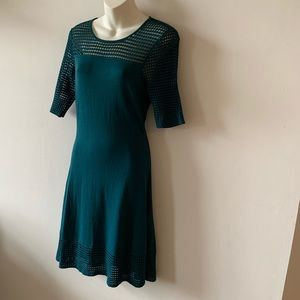 Nanette Lepore teal sheer knit fit and flare dress